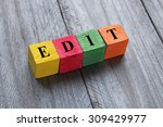 word edit on colorful wooden... | Shutterstock . vector #309429977