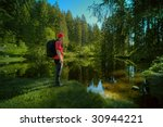 hiking man in Black Forest, Germany - stock photo