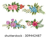 set of floral bouquet isolated... | Shutterstock .eps vector #309442487