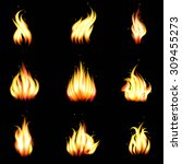 Set Of Vector Realistic Fire....