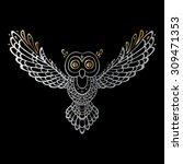 owl. tribal pattern. polynesian ... | Shutterstock .eps vector #309471353