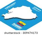ecuador map vector three... | Shutterstock .eps vector #309474173