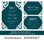 wedding invitation cards set... | Shutterstock .eps vector #309484307