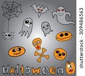 doodle halloween holiday... | Shutterstock .eps vector #309486563