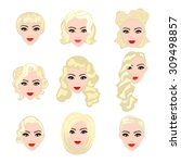 set of  blond hair styling... | Shutterstock .eps vector #309498857