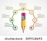Education pencil option Infographics design template.   Shutterstock vector #309518693