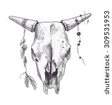 dotwork animal skull with... | Shutterstock .eps vector #309531953