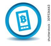 bitcoin screen icon  blue  3d ...