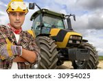 worker with tractor on the... | Shutterstock . vector #30954025