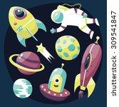 set astronaut  stars  comets ... | Shutterstock .eps vector #309541847