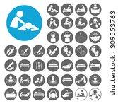 massage icons set. illustration ... | Shutterstock .eps vector #309553763