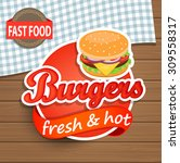 burgers label or sticer on the... | Shutterstock . vector #309558317