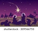 nativity scene with the magi... | Shutterstock .eps vector #309566753