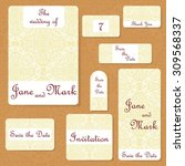 set of wedding invitations.... | Shutterstock .eps vector #309568337