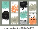 hand drawn set with artistic... | Shutterstock .eps vector #309606473