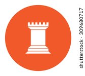 chess rook. flat white symbol... | Shutterstock .eps vector #309680717