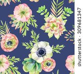 watercolor seamless pattern... | Shutterstock . vector #309681347