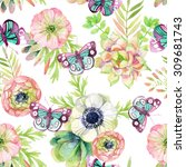 watercolor seamless pattern...   Shutterstock . vector #309681743