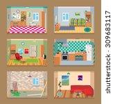 6 vector isometric rooms set   Shutterstock .eps vector #309683117
