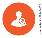 shield with an avatar. flat... | Shutterstock .eps vector #309686297