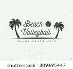 vintage beach volleyball label  ... | Shutterstock .eps vector #309695447