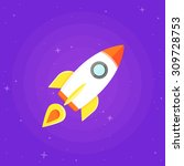 rocket ship in outer space.... | Shutterstock .eps vector #309728753