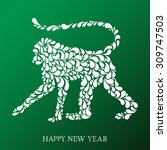 vector hand drawn monkey   the... | Shutterstock .eps vector #309747503
