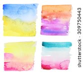Set Of 4 Abstract Watercolor...