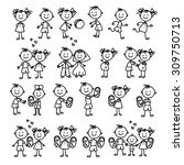 vector set of happy family.... | Shutterstock .eps vector #309750713