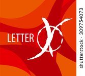 vector logo letter x on a red... | Shutterstock .eps vector #309754073