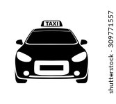 taxi black and white icon   Shutterstock .eps vector #309771557