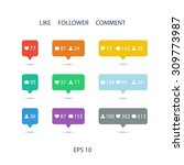 like  follower  comment icons...   Shutterstock .eps vector #309773987