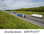 trucks traveling on an asphalt... | Shutterstock . vector #309791477