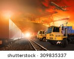truck and container trains in... | Shutterstock . vector #309835337