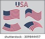 american flag icon set.usa flag ...