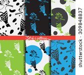 set of 6 birds seamless pattern.... | Shutterstock .eps vector #309848837