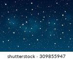 shiny stars on night sky...   Shutterstock .eps vector #309855947