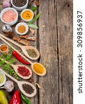different spices and herbs ... | Shutterstock . vector #309856937