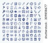 doodle school icons | Shutterstock .eps vector #309858677