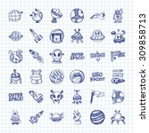 doodle space icons | Shutterstock .eps vector #309858713
