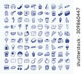 doodle food icons | Shutterstock .eps vector #309860447