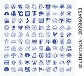 doodle weather icons | Shutterstock .eps vector #309860453