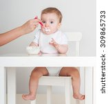 mother feeding baby with a... | Shutterstock . vector #309865733