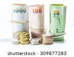 thai money banknotes on white... | Shutterstock . vector #309877283