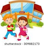 school children walking in... | Shutterstock .eps vector #309882173