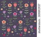 cartoon summer flowers pattern... | Shutterstock .eps vector #309892937