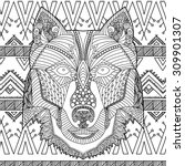 coloring book page with hand... | Shutterstock .eps vector #309901307