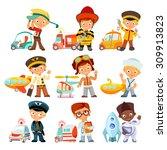 big set of cartoon kids in...