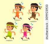 cartoon sport people running... | Shutterstock .eps vector #309923933