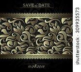 invitation card baroque black... | Shutterstock .eps vector #309935573